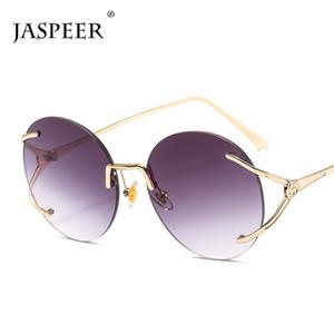 Jaspeer Retro Rimless Sonnenbrille Frauen Designer Runde Sun Glass Gradientenrahmenlose Mode Eyewear UV400