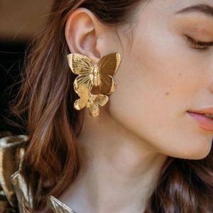 New banhado a ouro Alloy Duplo borboleta brincos de ouro Retro Exagerada Big Size borboleta Brinco Brincos para Mulheres presente