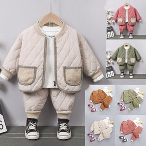 2020 Baby Padded Suit Autumn And Winter New Boy Thick Coat Two Piece Children's Warmth Out Coat Cotton trousers E049