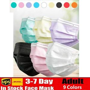 9 colori rosa bianco nero maschere viso monouso con anello per orecchio elastico 3 con spesa traspirante polvere aria anti-polvere maschera per la bocca maschera adulto