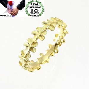 OMHXZJ Wholesale European Fashion Woman Girl Party Wedding Gift Flower 925 Sterling Silver 18KT Yellow Gold Rose Gold Ring RR435