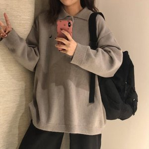 New Fashion Instagram Loose Women Knitted Pullover Polos Shirt Black Sweater Embroidery Long Sleeve Sweaters Autumn Winter 2020
