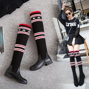 S.Romance 2018 Kadınlar Boots Artı boyutu 34 43 Düşük Kare Topuklar Diz Boots Ofisi Bayanlar Kadın Siyah SB033 aoap # Kadın Ayakkabı