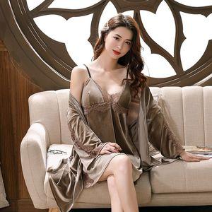 Women 2PCS Sleep Set Velvet Kimono Bathrobe Gown 2020 New Nighty&Robe Suit Lace Patchwork Sleepwear Nightdress Sexy Home Clothes
