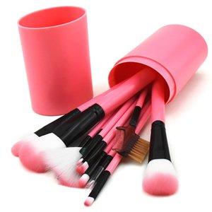 12 Pc Balde de escova da composição de metro Brus Set Make Up Artist Sombra Pincel Blending Foundation Kit de maquiagem Ferramentas Comestic