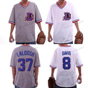 Özel Mens Bull Durham # 8 Crash Davis # 37 Ebby Laloosh Film Beyzbol Forması Tüm Dikişli Beyaz Gri Boyutu 2xs-3XL