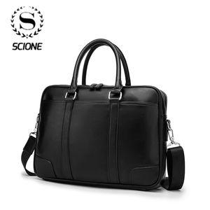 "Scione PU Leather Men's Briefcases 14"" Laptop Handbag Cowhide Men Business Crossbody Bag Messenger Shoulder Bags for Men"