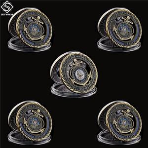 5шт Департамент США Navy эмблема основных ценности Медали Отвага Copper Hollow Токен Вызов Commitment Монета