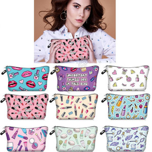 Women Lipstick Fashion Cosmetic Makeup Bags INS Girls Mouth Lips Print Handbag Tote Purses Toiletry Bag Brushes Jewelry Storage Totes D9709