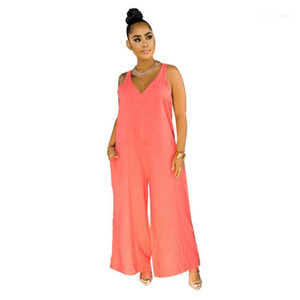 V-Neck Rompers Sleeveless Full Length Casual Jumpsuits Womens Jumpsuits Designer Drawstring Sashes Natural Color Jumpsuits Sexy