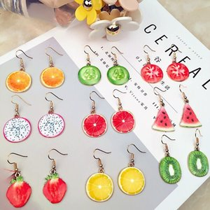 1pair Summer sweet and lovely simulation watermelon strawberry fruit female earrings ear jewelry holiday party gifts