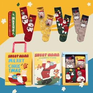 Regalo di Natale i bambini e per adulti calzini inverno caldo Coral Velvet calzini del merletto del piedino del bambino Più caldo del bambino stampato Natale Azioni 4set