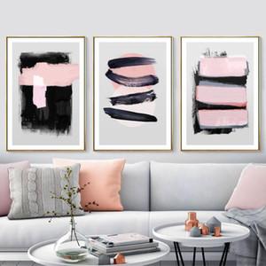 Oturma odası dekorasyon Ev Dekorasyonu için Wall Art Resimler Boyama Özet Geometrik Suluboya Pembe Mürekkep Tuval