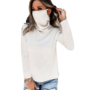 Neck Stacked Women Long Legging Mask With Color Autumn Sleeve Solid Tees Loose Tshirt Famale Clothes Edwqa