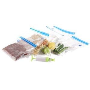 2018 Armazenamento de Alimentos Zipper saco de vácuo Durable Compressão Sacos Comida fresca Embalagem de bombeamento Seal Multi-size Sacos reusáveis 5pcs C19030201