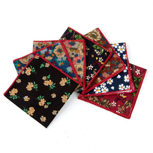 Handkerchief Scarf Retro Cotton Handkerchief Mens Pocket Square Plant Flower Fashion Beautiful Style Colorful
