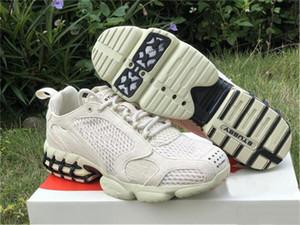 2020 Stussy Air Zoom Spiridon Caged 2 Fossil preto Running Shoes preto puro sapatos Authentic Platinum CQ5486-200