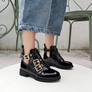 US4-13 Womens Belt Buckle Ankle Boots Cut Out Low Heel Motorcycle Punks Casual Shoes 3Colors Plus Size Warm Winter C843