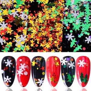 Nail Glitter Блестки Рождество Flake Снежинка Nail Art украшения Xmas Tree Dots Кусочек Гель лак для ногтей Art наклейки для маникюра Инструменты