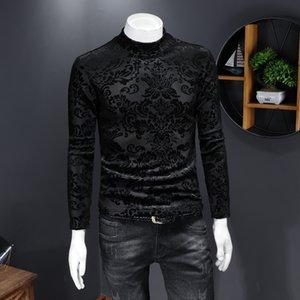 Otoño e invierno Camisa de fondo de cuello alto de invierno Estilo chino delgado Velvet de oro más terciopelo Flor gruesa camiseta de manga larga Tendencia de los hombres
