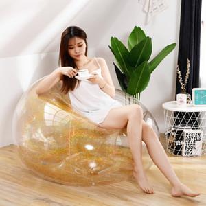 100x100x85cm Transparência sofá inflável pvc Lantejoula dobrável cadeira portátil proteção ambiental sofá balão para o café ao ar livre
