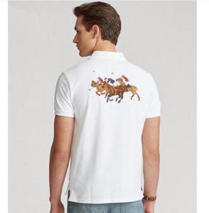 Uomini casual polo camicia grande cavallo ricamo solido polos homme estate cotone golf tennis tees t-shirt abbigliamento da uomo in jersey vestiti bianco giallo