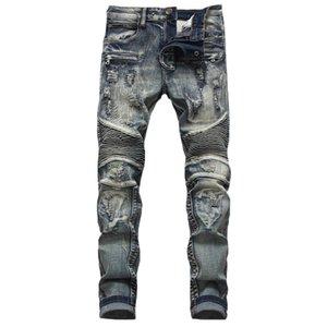 Nova moda costura jeans rasgado personalidade masculina reta moda masculina retro dobras locomotiva desgastado mendigo calças calças