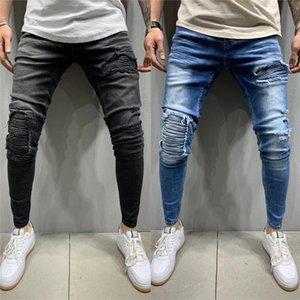 Jeans para hombre de la motocicleta informal Elasticidad acanalada flaco lápiz de los pantalones de moda monopatín diseñador de los hombres pantalones de mezclilla Hole