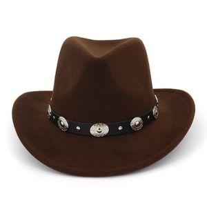 Winter New Unisex Felt Western Cowboy Hat Solid Imitation Wool Fedoras Tourist Cap Outdoor Wide Brim Jazz Caps