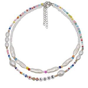 Imitazione barocca Pearl Layered Necklace + '' amore '' Starfish / Shell Pendenti Choker per i regali della collana della ragazza Set stratificazione Pearl # 1