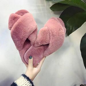 2021 Pantofole di lana aperta da cross slipper per le donne autunno e inverno caldo piatto interno piano antiscivolo in cotone antiscivolo in cotone