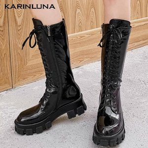 Karin New Square Talons gros Plate-forme Chaussures d'hiver marque de mode Moto Bottes femme