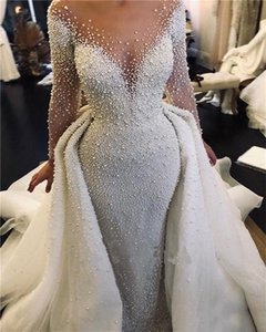 Luxury Full Pearl Beaded Mermaid Wedding Dresses With Detachable Train Vintage Long Sleeves Saudi Arabic Plus Size Bridal Gown