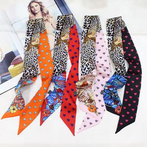 Jungle Love Stampa 100% Seta Nastro Sciarpe Borsa involucri della sciarpa della signora Neck Decoration piccolo nastro Multi Fascia per capelli Girocollo ZSBD228