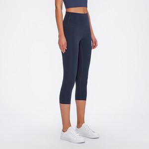 Kalitenin Fintess pantolon sayesinde L-102 Kadınlar Sıkı Spor Capri Seksi Yoga Karın Kontrol Legggings 4 Way Stretch Kumaş Non