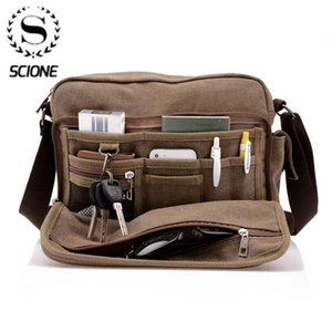 Scione Canvas Multifunction Messenger Shoulder Bag Solid Briefcases Suitcase Card Pocket For Men Women Office Outdoor Travel Bag 200918