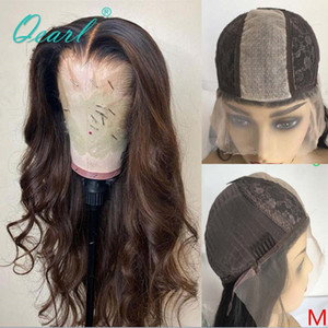 Ombre de color marrón humano pelucas de pelo bajo de seda 2x5 top de encaje peluca ondulada brasileña del pelo de Remy ocultos nudos 150% larga y profunda Parte Qearl