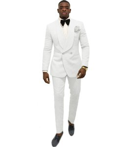 White Serge Groom Tuxedos Beautiful Double-Breasted Men Formal Suits Business Men Wear Wedding Prom Dinner Suits (Jacket+Pants+Tie) 661