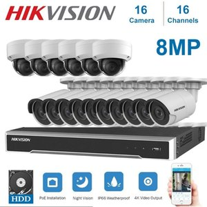 4K 8MP Hikvision Network 16Channels POE NVR Video Surveillance with 8MP IP Camera Night Vision CCTV Security System Kits
