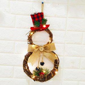 Árbol de Año Nuevo regalo de Navidad muñeco de nieve de luz LED Guirnaldas de Navidad colgante adornos adornos de Navidad para la decoración de Navidad Inicio