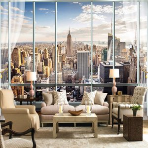 Customized photo wall painting 3DS stereo windows New York City building landscape wallpaper office living room home decoration covering