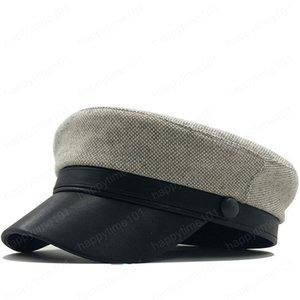 Lana sencilla Beret mujeres otoño invierno octagonales Gorra de estilo Artista Pintor Newsboy casquillos negros grises niña Beret Sombreros