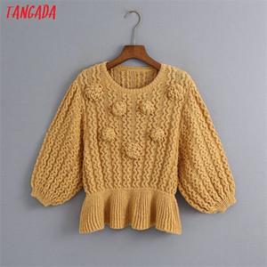 Tangada 2020 autumn women ball decorate sweater tunic o neck short sleeve knitted jumper tops 6Z21 0925