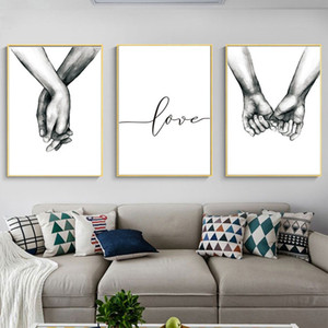 3 Pcs Nordic Art Back White Sweet Love Wall Art Canvas Poster Minimalist Print LOVE Quotes Painting Picture for Living Room Home Decor