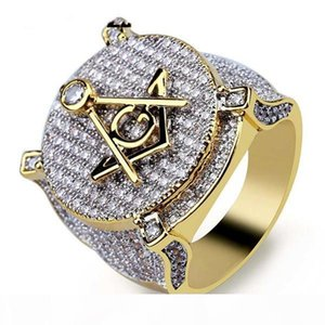 Zircon Ice Out Bling Big Wide Masonic Ring Gold Filled Copper Material Freemasonry Rings Men Hip Hop Rapper Jewelry 7-13