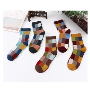 Colorful Cotton Mens Socks Geometric Checkered Men Hip Hop Cotton Socks for Christmas Gift 5 Pairs