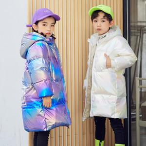 2020 Russian Winter Children Girls Coat Hooded Waterproof Dazzle Shiny Boys Down Jacket 3-12 Years Kids Teenage Outerwear