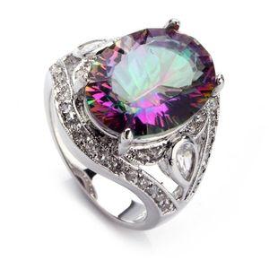 Fleure Esme bijoux anneaux de mariage pour les hommes et les femmes arc-en-bleu rose pourpre Zircon rhodié R382 R543 R546 R701