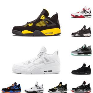 AJ4 2018 All'ingrosso 4 BLACK White Cement Green Glow Pure Money per scarpe da basket da uomo sportive boot classic IV sneaker da basket