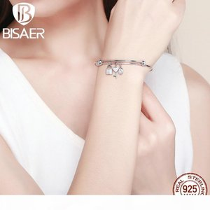 BISAER 925 Sterling Silver Love Promised Women Bracelets Silver Bangles Love Heart Key Dangle Cuff Bangles Jewelry ECB119